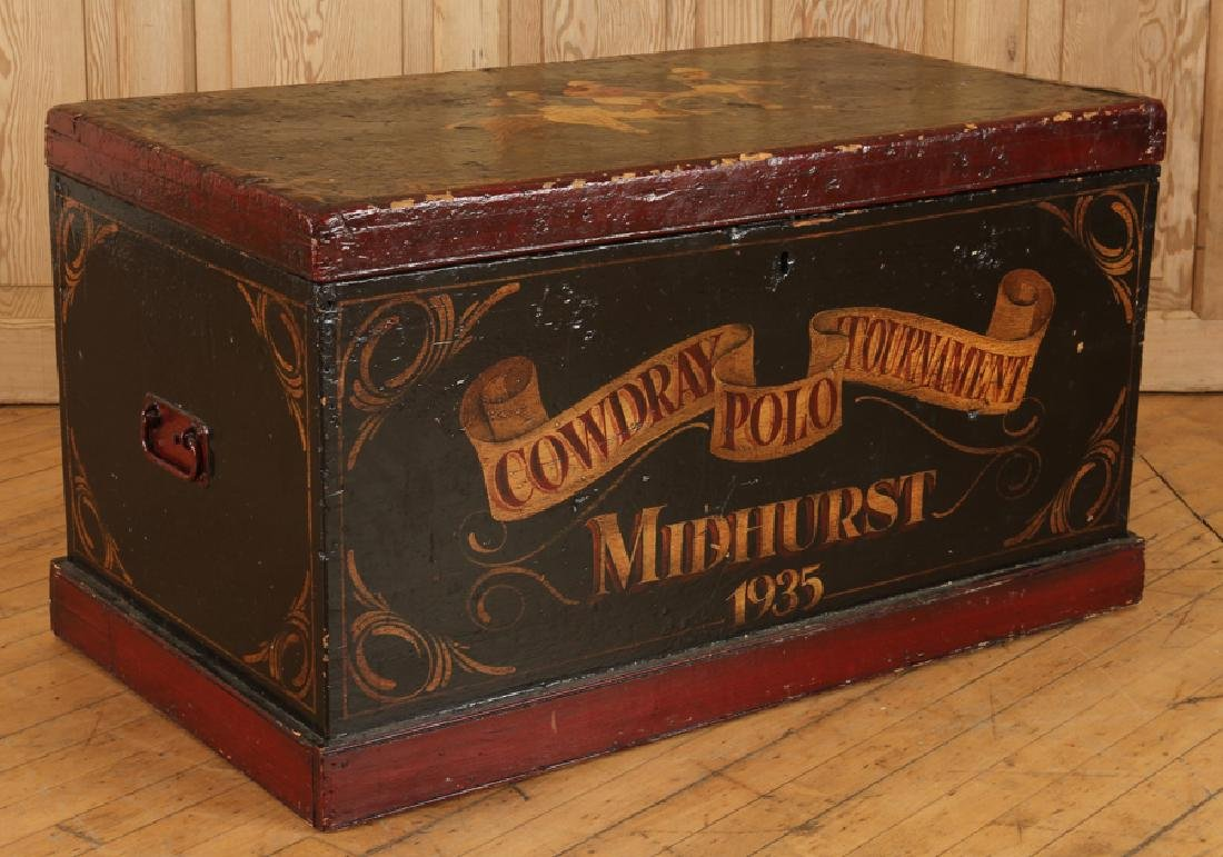 PAINTED WOOD MID HURST POLO TOURNAMENT TOY CHEST