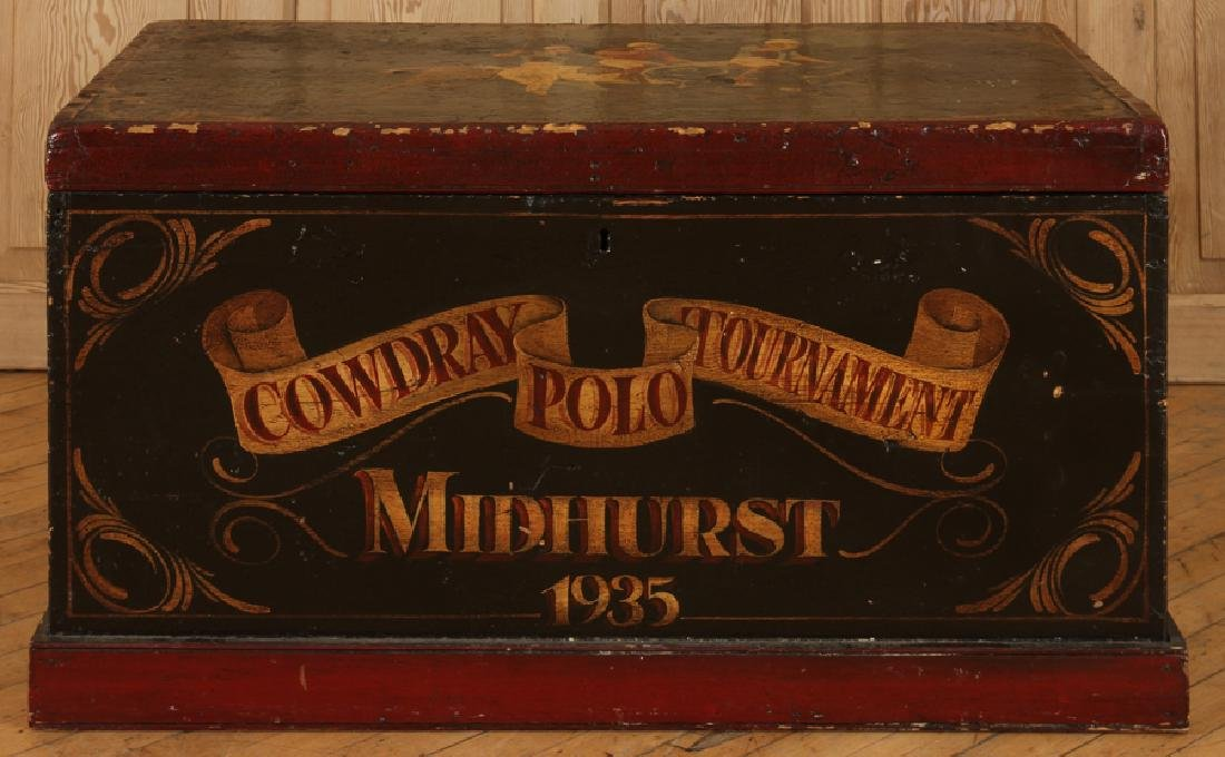 PAINTED WOOD MID HURST POLO TOURNAMENT TOY CHEST - 2