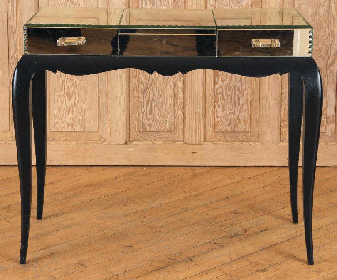FRENCH CONSOLE TABLE MIRRORED TOP C.1950
