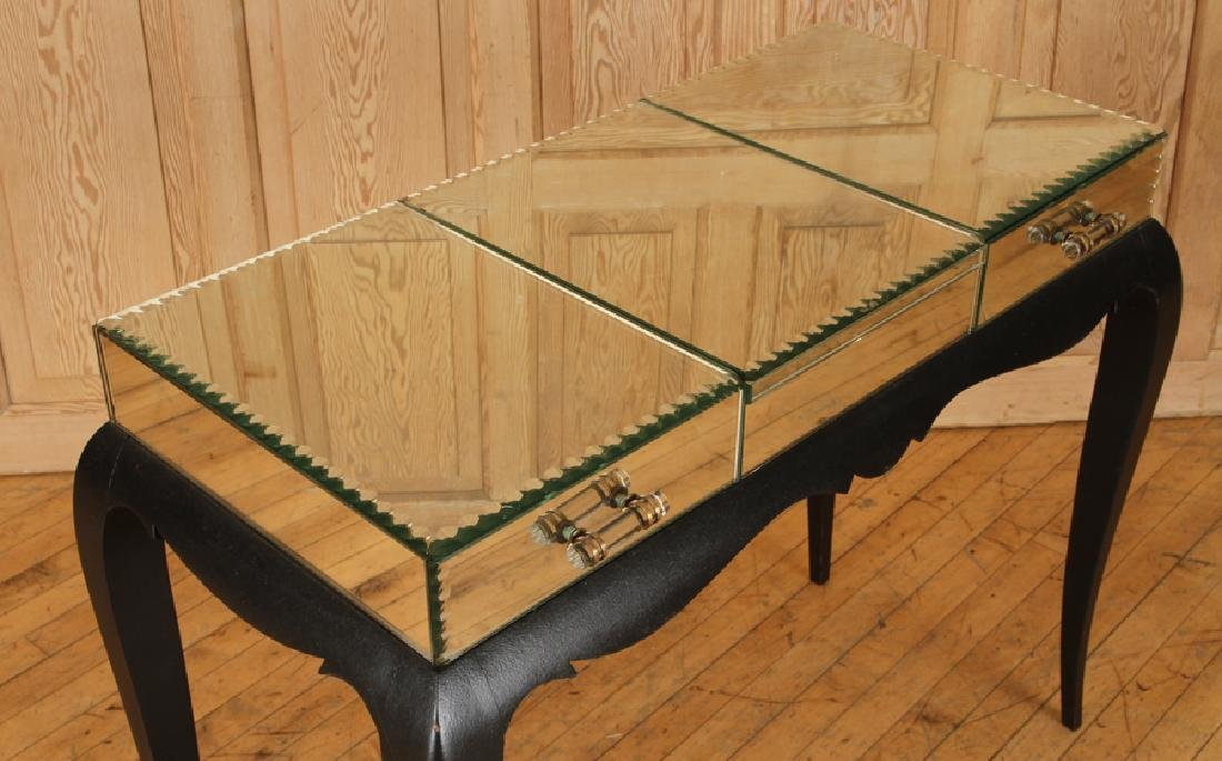 FRENCH CONSOLE TABLE MIRRORED TOP C.1950 - 3