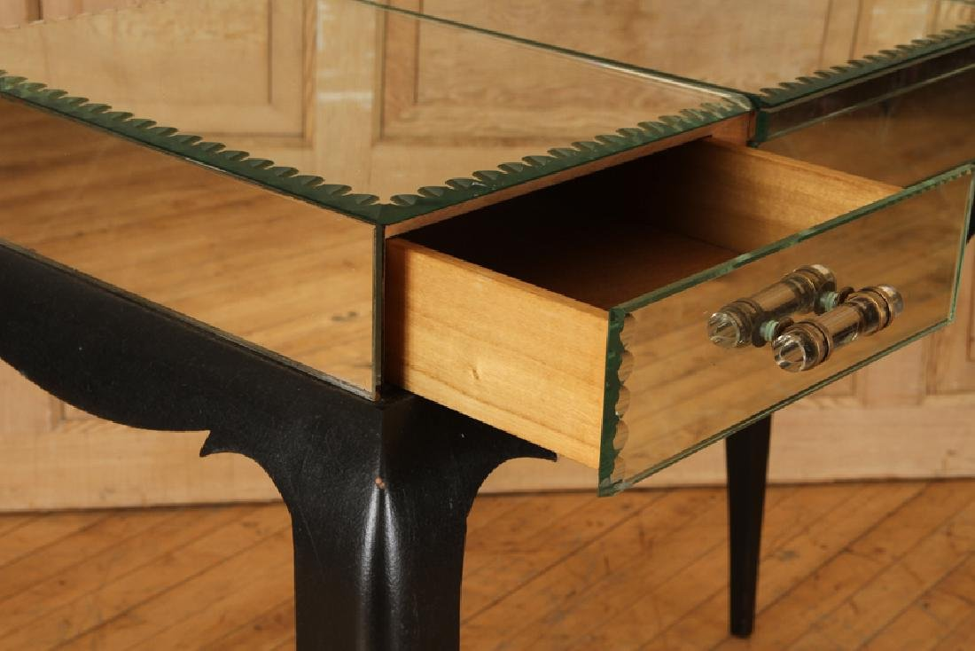FRENCH CONSOLE TABLE MIRRORED TOP C.1950 - 4