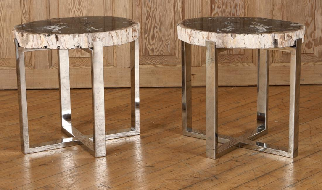 PAIR PETRIFIED WOOD END TABLE CHROME X-FROM BASES