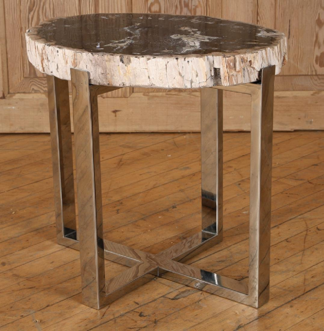 PAIR PETRIFIED WOOD END TABLE CHROME X-FROM BASES - 2
