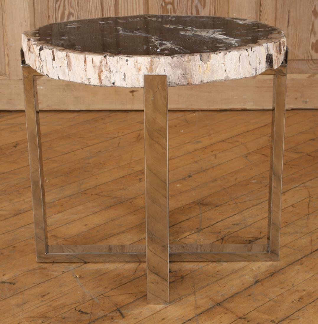 PAIR PETRIFIED WOOD END TABLE CHROME X-FROM BASES - 3