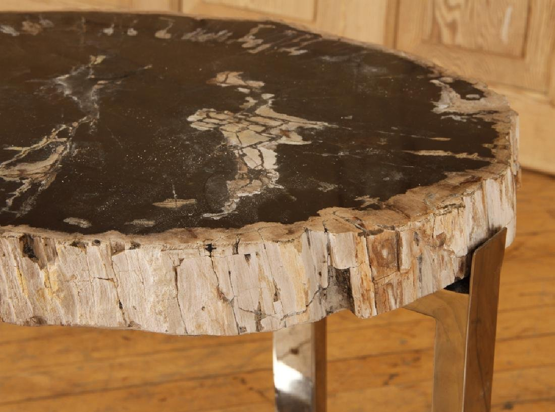 PAIR PETRIFIED WOOD END TABLE CHROME X-FROM BASES - 5