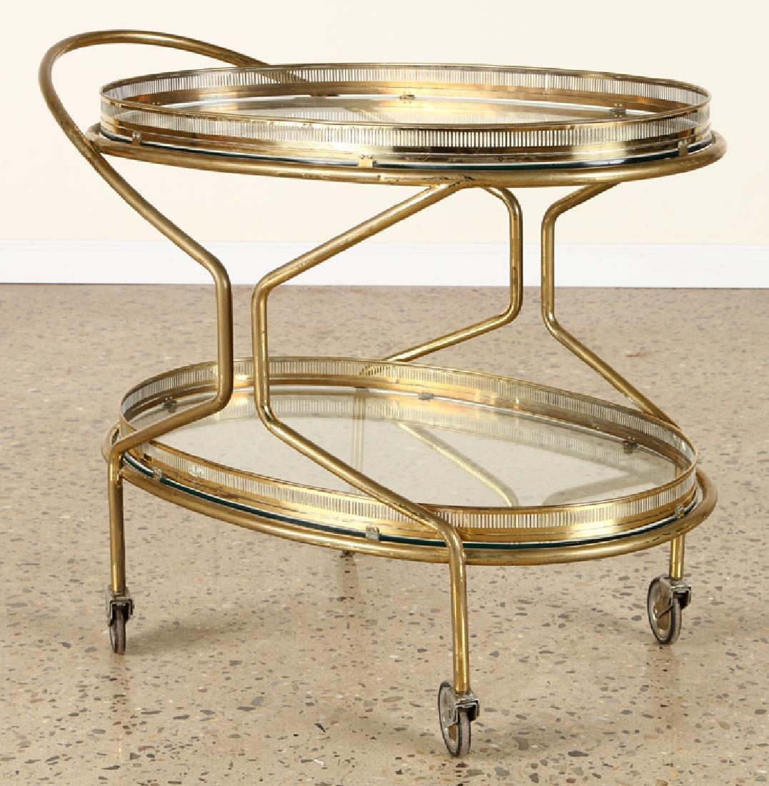 ITALIAN BRASS BAR CART GLASS SHELVES C.1960