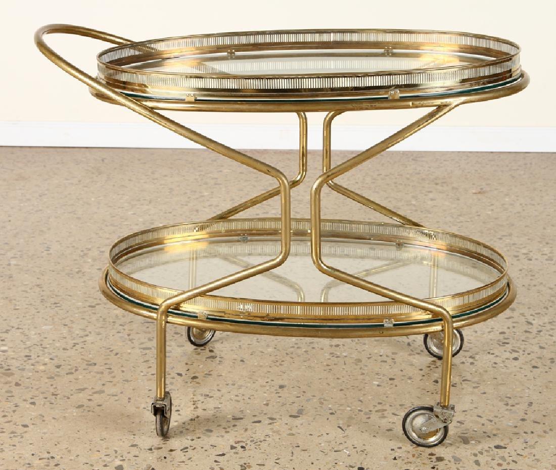 ITALIAN BRASS BAR CART GLASS SHELVES C.1960 - 2