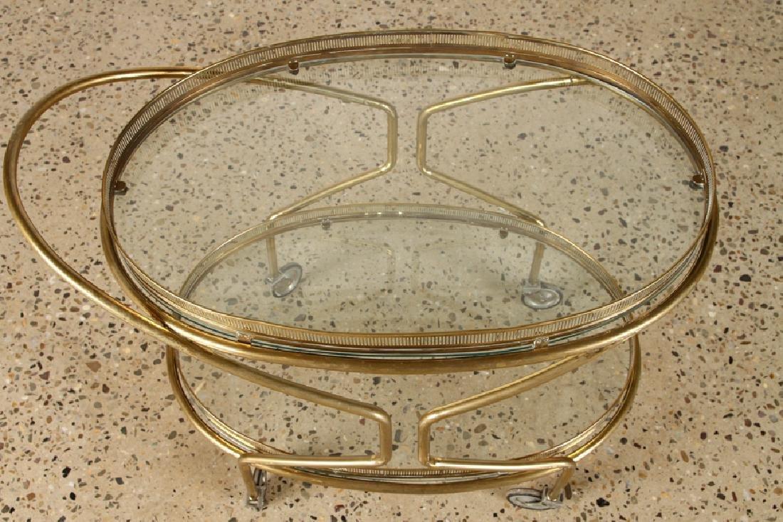 ITALIAN BRASS BAR CART GLASS SHELVES C.1960 - 3