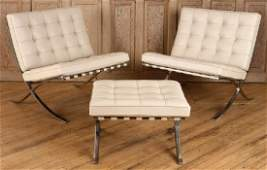PAIR OF BARCELONA CHAIRS & OTTOMAN LABELED KNOLL