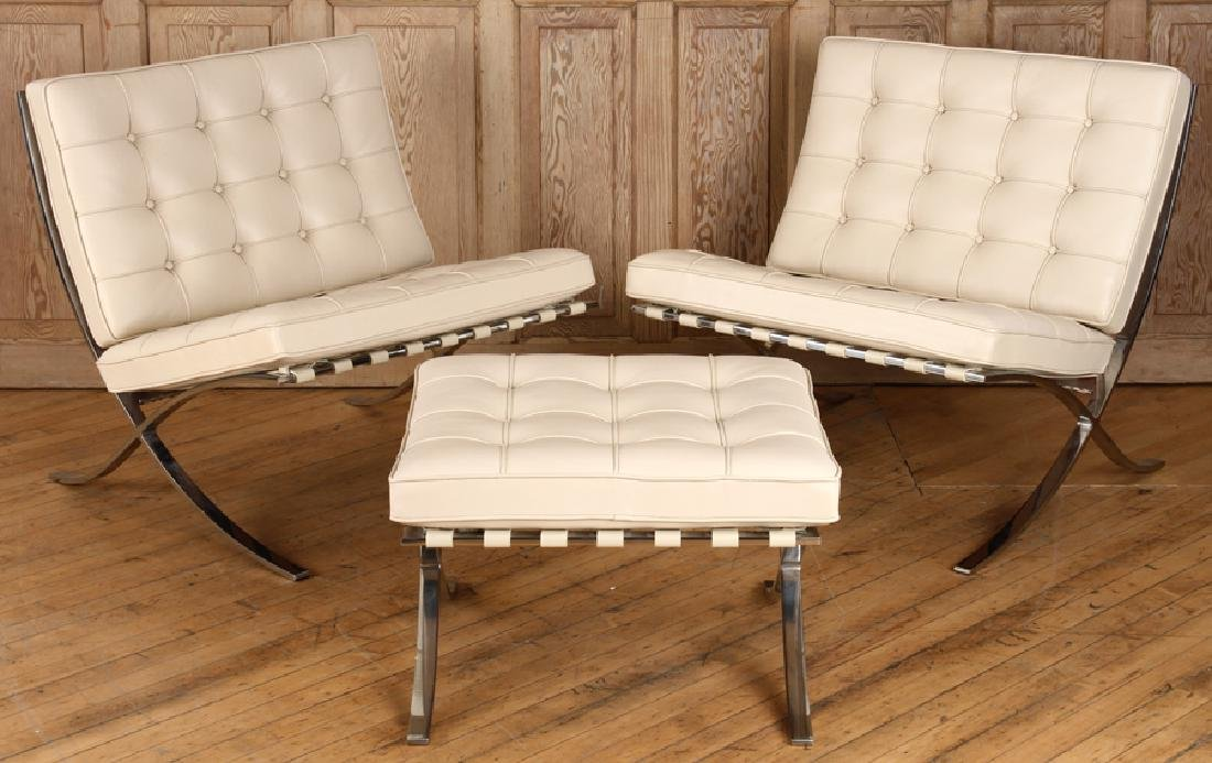 PAIR CHROME BARCELONA CHAIRS & OTTOMAN BY KNOLL