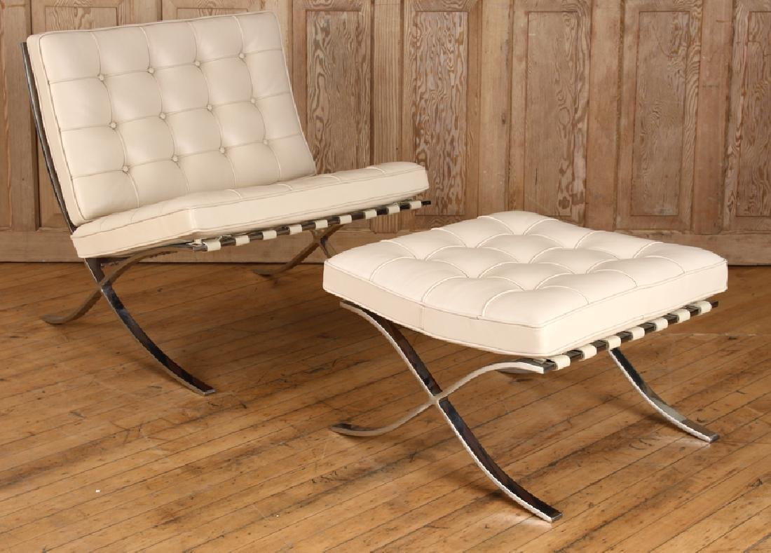 PAIR CHROME BARCELONA CHAIRS & OTTOMAN BY KNOLL - 2
