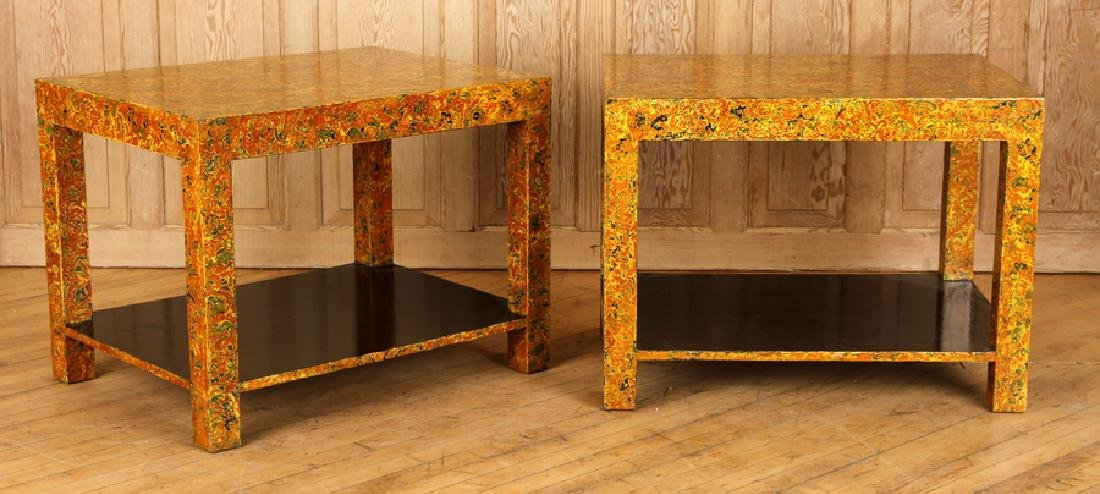 PAIR FAUX TORTOISE END TABLES BY THOMAS GRACE