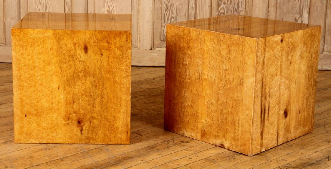 PAIR OF LIGHT WOOD END TABLES