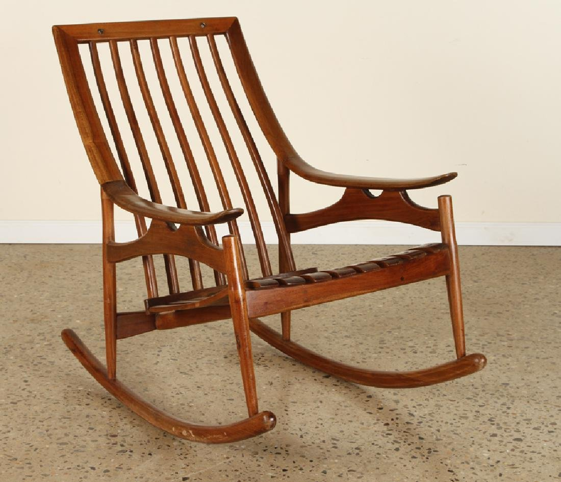 MID CENTURY MODERN ROCKING CHAIR SLOPED ARMS