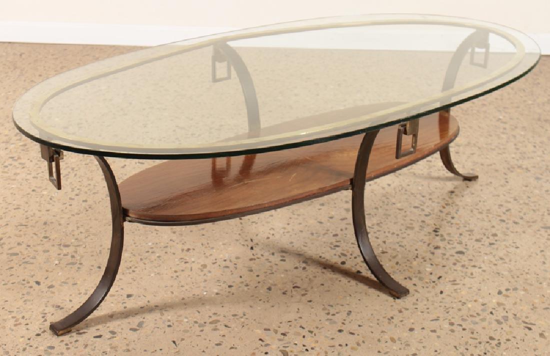 MID CENTURY MODERN BRONZE GLASS COFFEE TABLE 1960