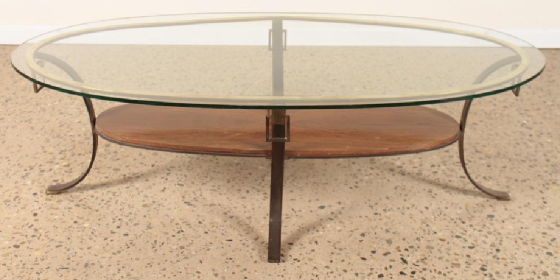 MID CENTURY MODERN BRONZE GLASS COFFEE TABLE 1960 - 2