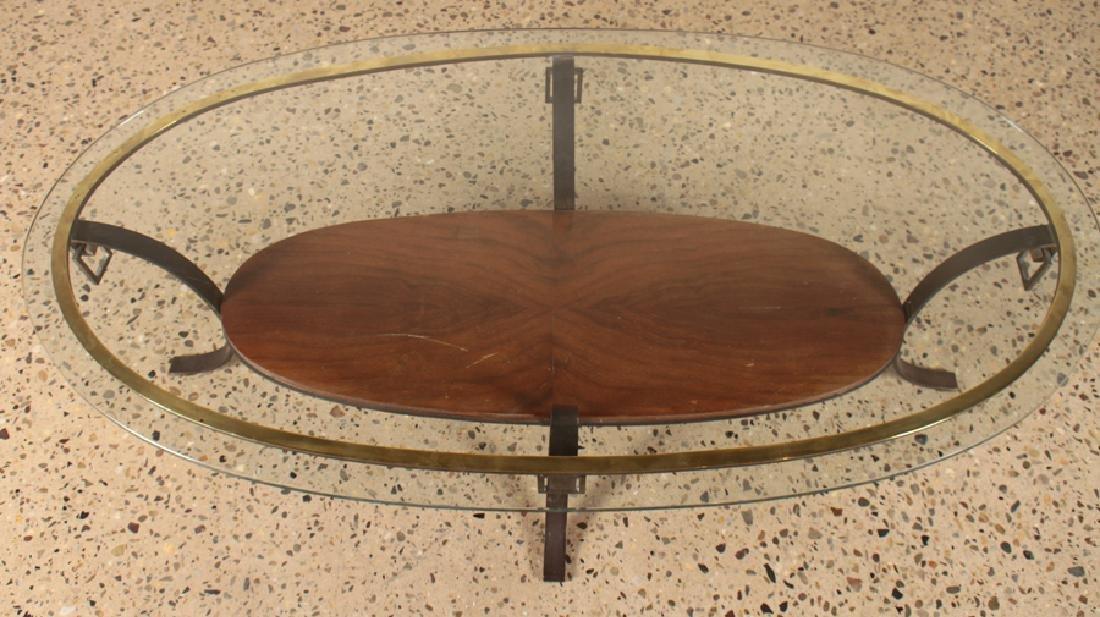 MID CENTURY MODERN BRONZE GLASS COFFEE TABLE 1960 - 3
