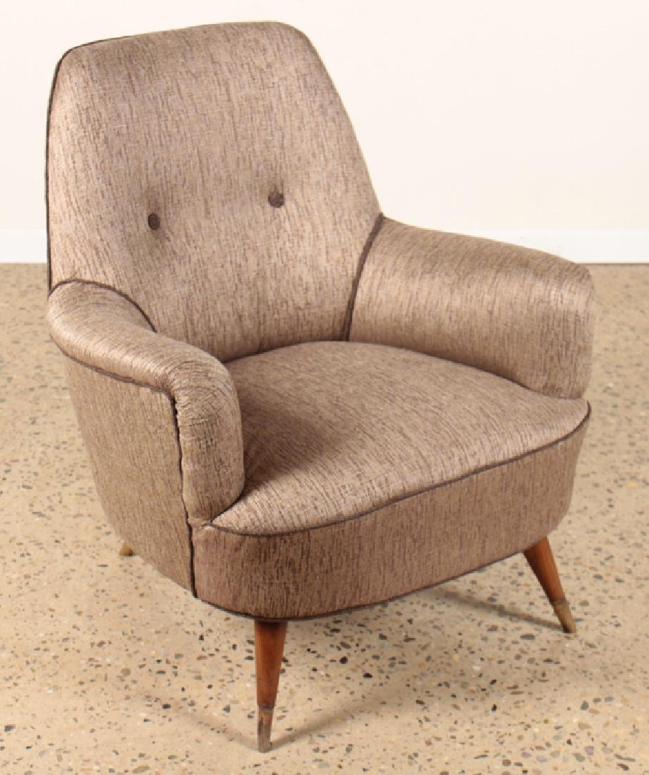 PAIR UPHOLSTERED CLUB CHAIRS MANNER OF GIO PONTI - 2