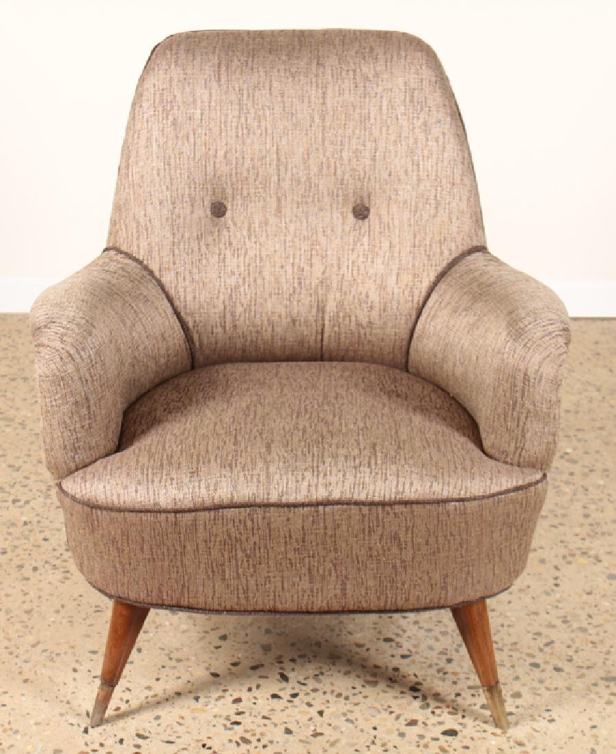 PAIR UPHOLSTERED CLUB CHAIRS MANNER OF GIO PONTI - 3