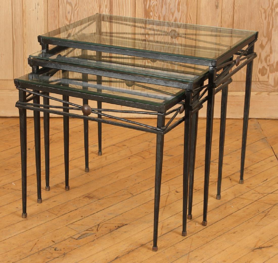 SET IRON BRONZE MOUNTED NESTING TABLES ATTR COMTE