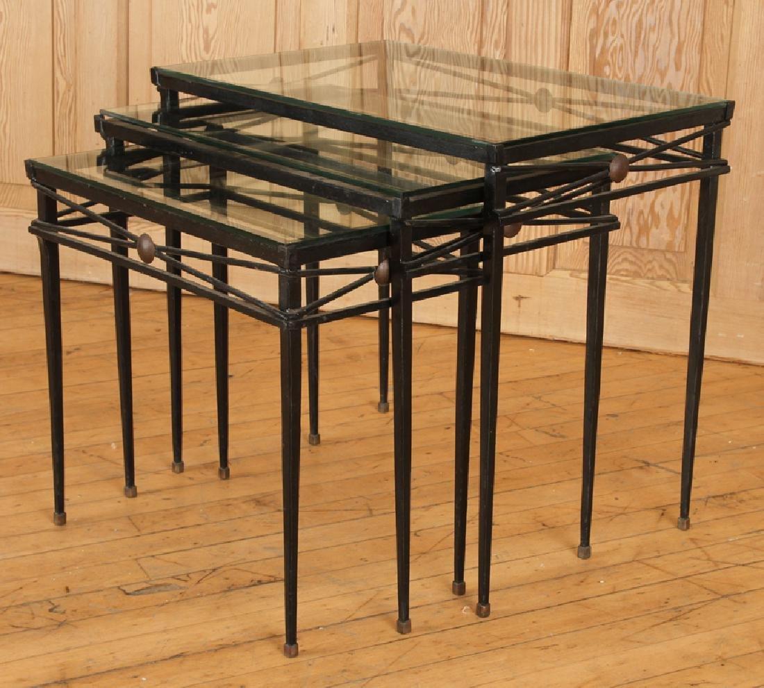 SET IRON BRONZE MOUNTED NESTING TABLES ATTR COMTE - 2