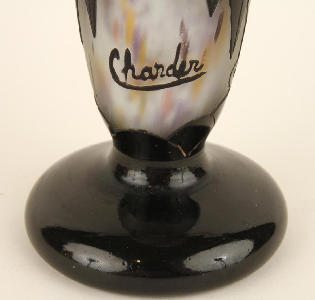 ART DECO SIGNED CHARDER CAMEO GLASS VASE - 5