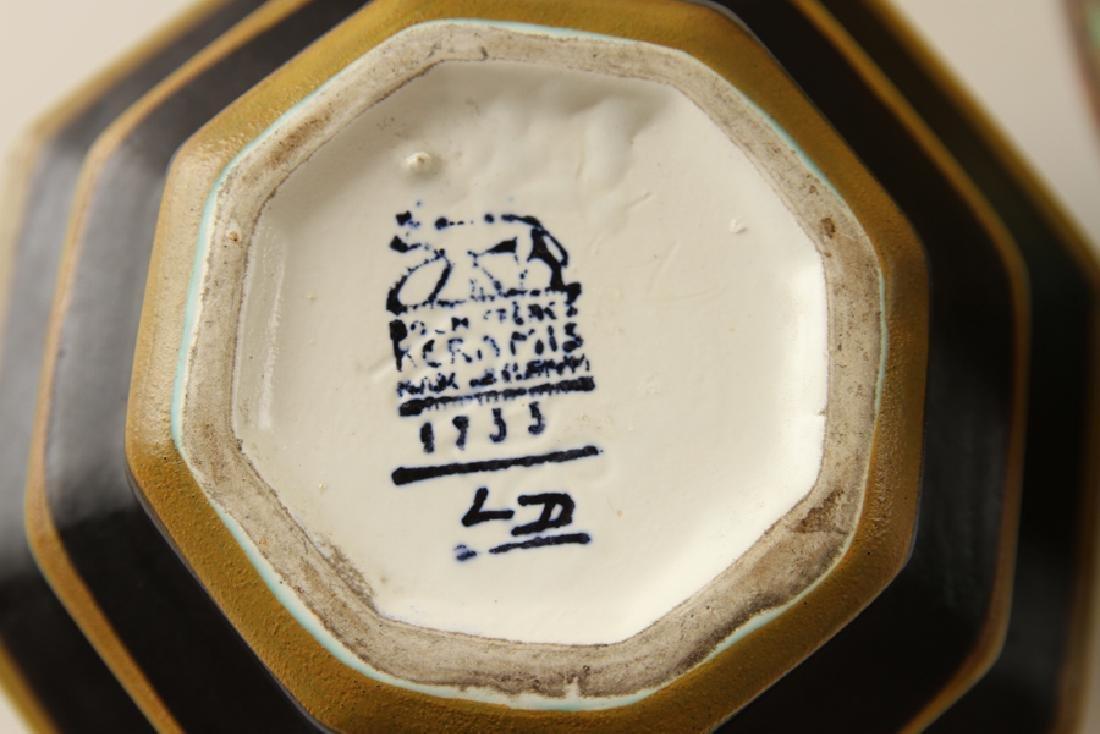 PAIR ART DECO ROCHE FRERES GLAZED CERAMIC VASES - 6