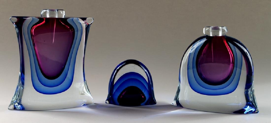 THREE MURANO GLASS SCULPTURES TWO SIGNED