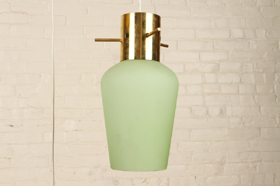 ITALIAN BRASS GLASS HANGING PENDANT LIGHT C.1960 - 4