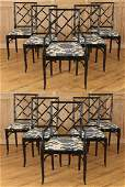 SET 10 FAUX BAMBOO DINING CHAIRS ATTR TO JANSEN