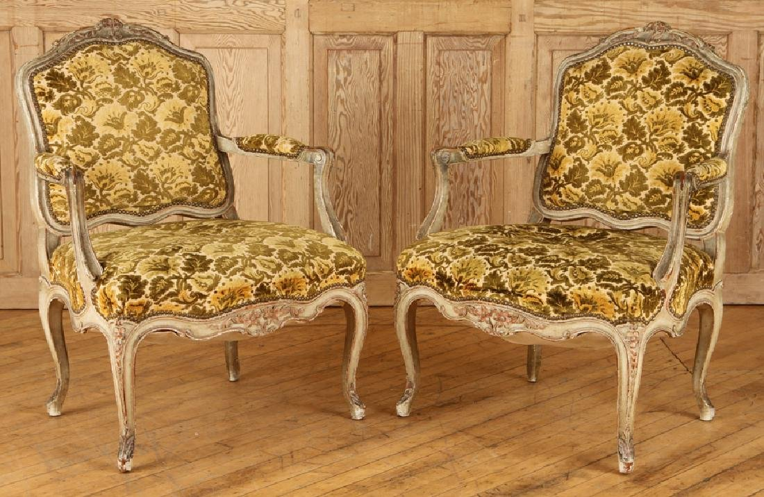 PAIR LOUIS XV STYLE CARVED OPEN ARM CHAIRS C.1940