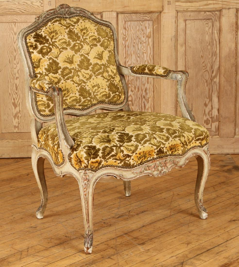 PAIR LOUIS XV STYLE CARVED OPEN ARM CHAIRS C.1940 - 2