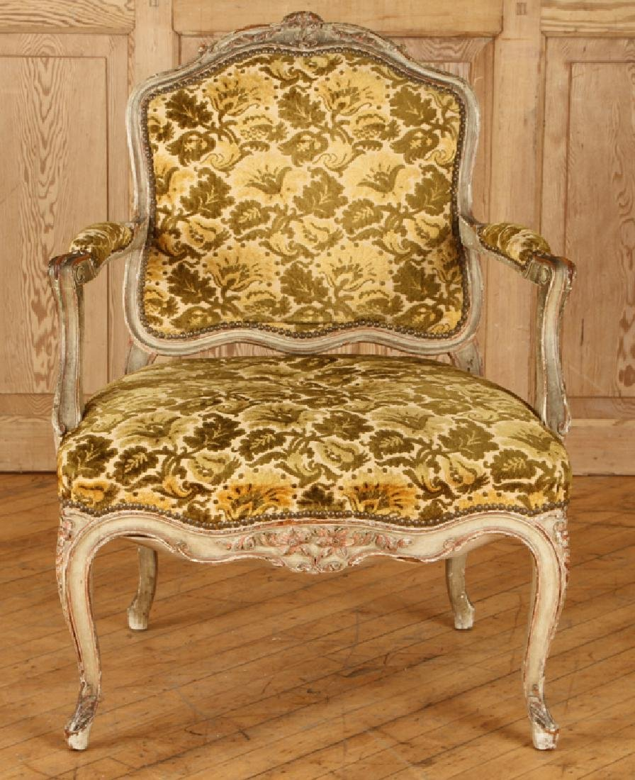 PAIR LOUIS XV STYLE CARVED OPEN ARM CHAIRS C.1940 - 3