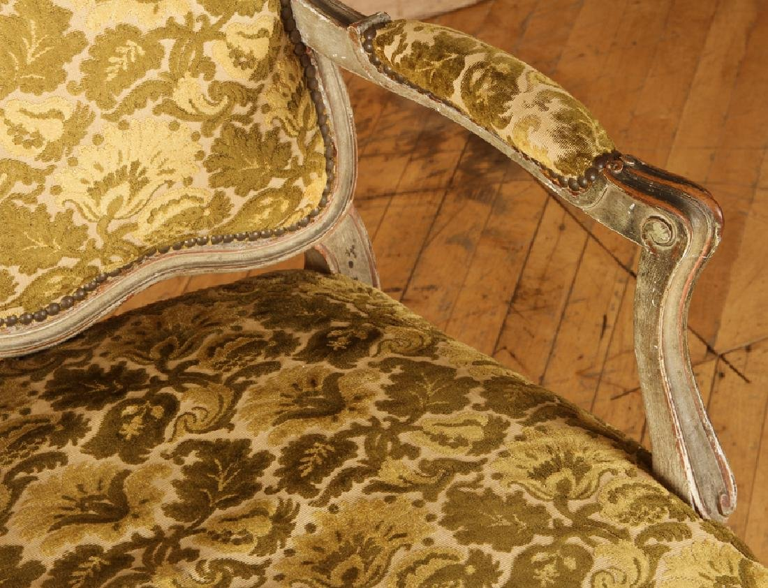 PAIR LOUIS XV STYLE CARVED OPEN ARM CHAIRS C.1940 - 5