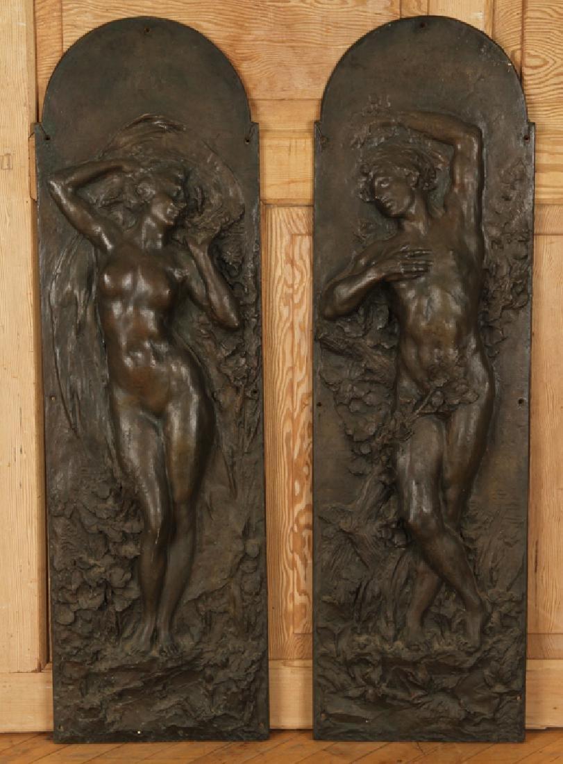 PAIR BRONZE ART NOUVEAU PLAQUES CIRCA 1900