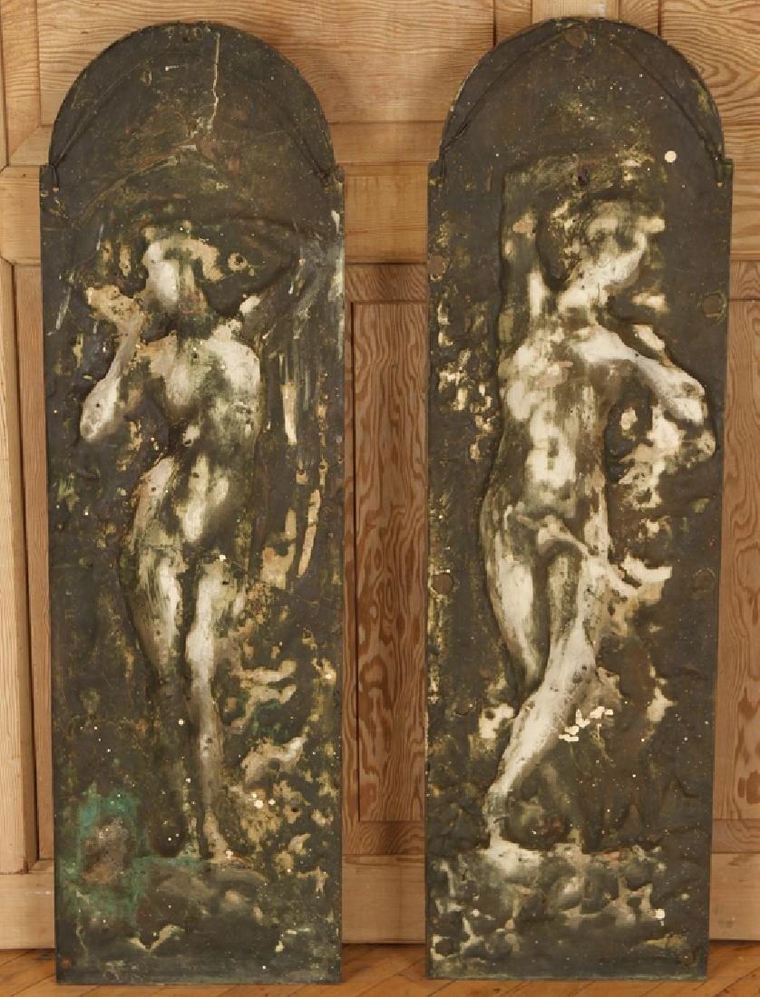 PAIR BRONZE ART NOUVEAU PLAQUES CIRCA 1900 - 5