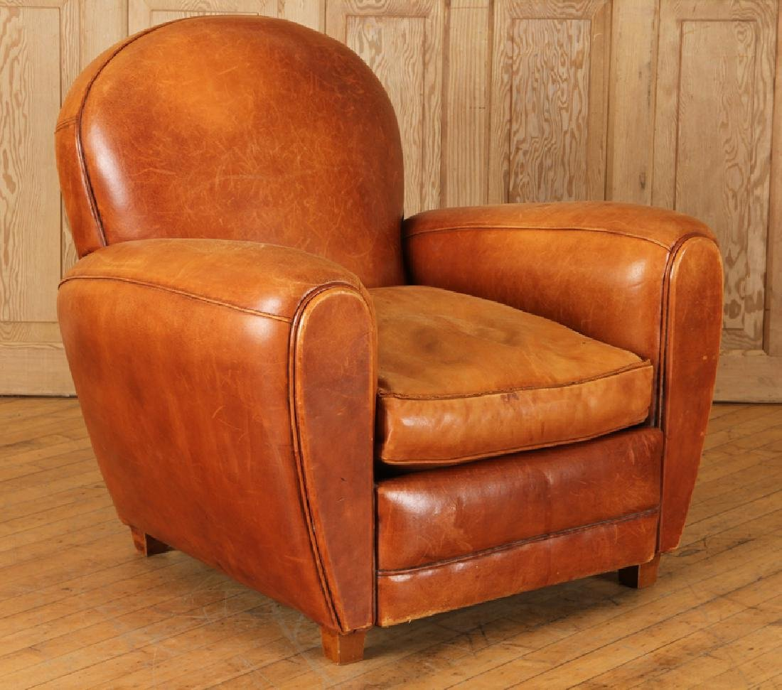 FRENCH LEATHER CLUB CHAIR OF TRADITIONAL FORM