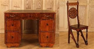 19TH CENT. BURLED WALNUT BIEDERMEIER DESK & CHAIR