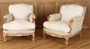 PAIR FRENCH LOUIS XV STYLE BERGERE CHAIRS C. 1940