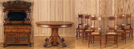 8PC. LATE 19TH C. AMERICAN OAK DINING ROOM SUITE