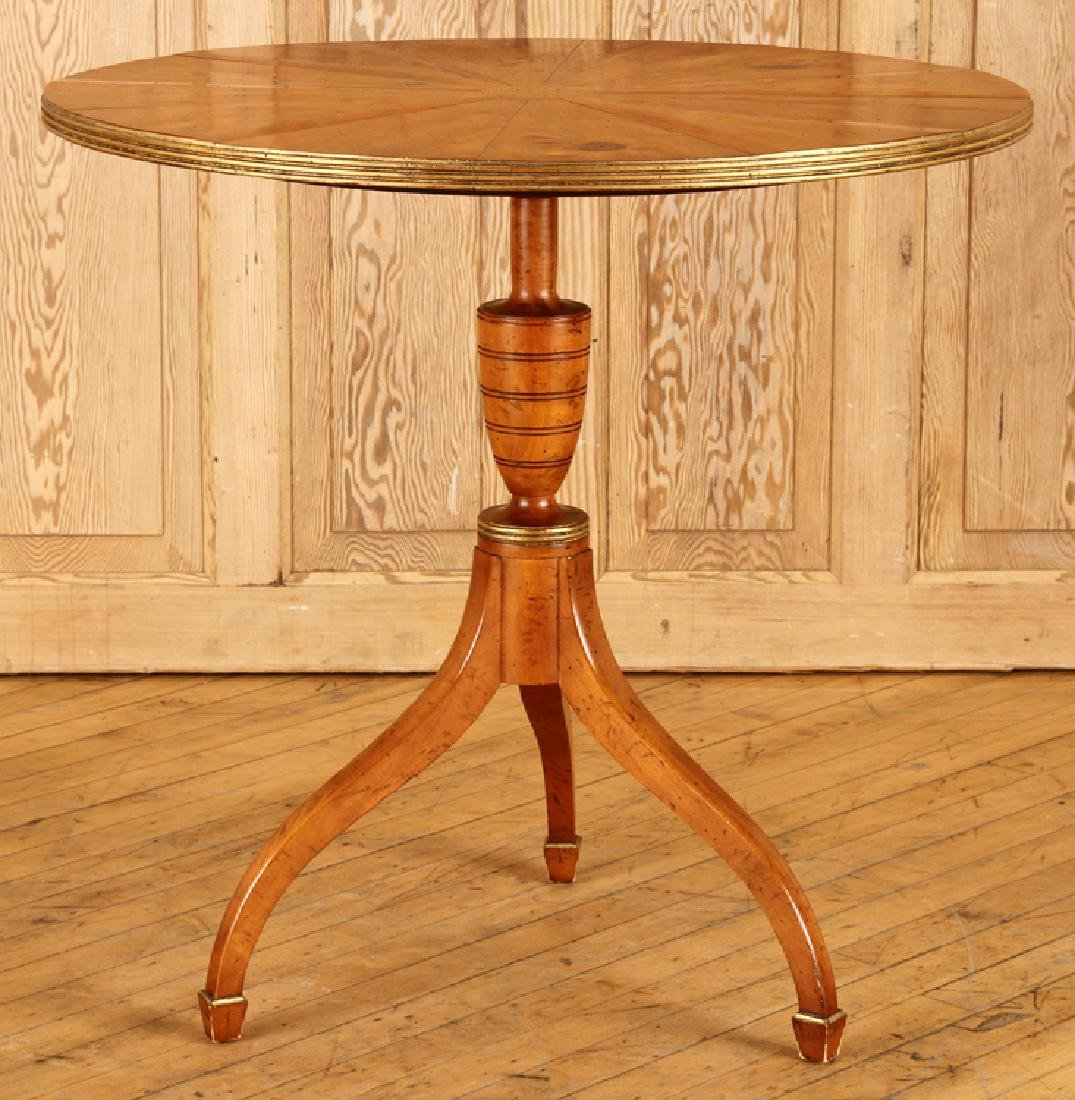 YEW WOOD CENTER TABLE LABELED BAKER TRIPOD LEGS