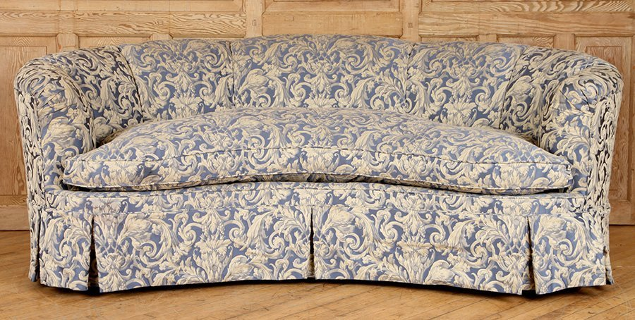 CRESCENT FORM FRENCH SOFA UPHOLSTERED CIRCA 1940