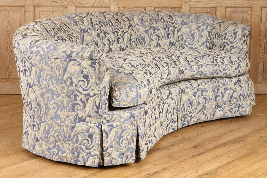 CRESCENT FORM FRENCH SOFA UPHOLSTERED CIRCA 1940 - 2