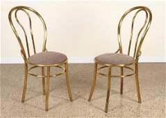 PAIR OF FRENCH BRASS SIDE CHAIRS CIRCA 1950