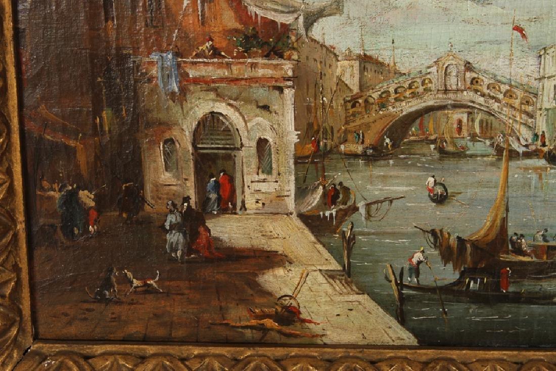 19TH CENT. OIL ON CANVAS VENETIAN CANAL SCENE - 3