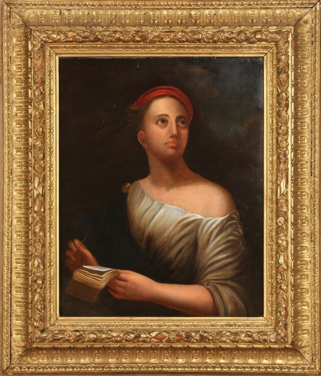 EARLY 19TH C. AMERICAN SCHOOL PAINTING OF WOMAN