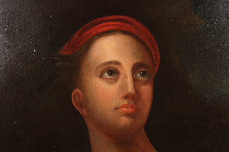 EARLY 19TH C. AMERICAN SCHOOL PAINTING OF WOMAN - 2
