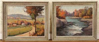 CARL ILLIG PAIR OF FALL LANDSCAPES OIL ON CANVAS