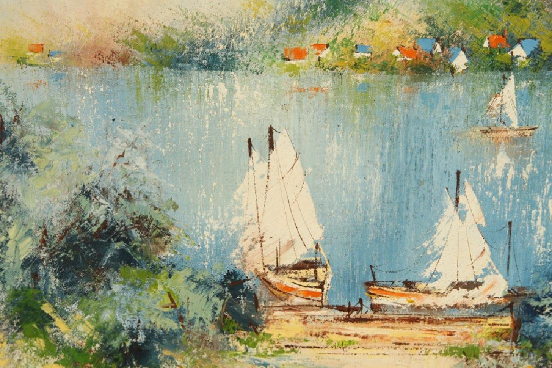 "SUNY CHUNG ""SAILBOATS"" OIL ON CANVAS SIGNED - 2"