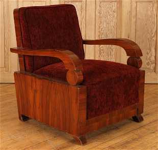 Sleek Art Deco Walnut Arm Chair Circa 1930